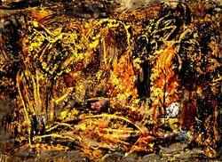 Fischer Ernő - Aranyerdő 1962 absztrakt gouache festmény