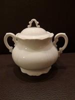 Zsolnay barokk fehér teás cukortartó fedővel hibátlan