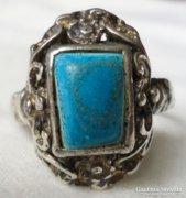 Antik barokk Ezüst Gyűrű Türkizzel Díszítve