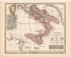 Dél - Olaszország térkép 1840, német nyelvű, atlasz, eredeti, Pesth, 23 x 29 cm, magyar kiadás