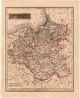 Lengyel királyság és Kelet Poroszország térkép 1840, német nyelvű, atlasz, eredeti, Pesth, 23x29 cm