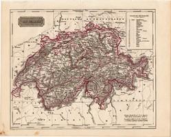 Svájc térkép 1840, német nyelvű, atlasz, eredeti, Pesth, 23 x 29 cm, magyar kiadás, Pest