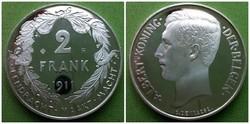 Ritka ezüst belga 2 frank tükörveret, utánveret 1911