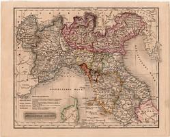 Észak - Olaszország térkép 1840, német nyelvű, atlasz, eredeti, Pesth, 23 x 29 cm, magyar kiadás