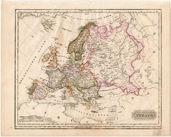 Európa térkép 1840, német nyelvű, atlasz, eredeti, Pesth, 23 x 29 cm, magyar kiadás