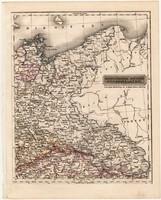 Északkeleti Német államok térkép 1840, német nyelvű, atlasz, eredeti, Pesth, 23 x 29 cm, magyar kiad