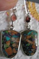 925 ezüst fülbevaló szív alakú vegyes kő és topáz csepp