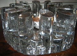 Art deco üveg tea  mécses tartó  gyertyatartó Bel Mondo
