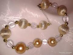 Arany színű rendkívül elegáns nagy szemes alkalmi női ékszer, ünnepi aranyszemes nyaklánc