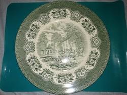 Nagy zöld festésű angol porcelán tál díszes fajansz tányér