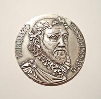 Torquato Tasso 1595-1995 ezüst plakett