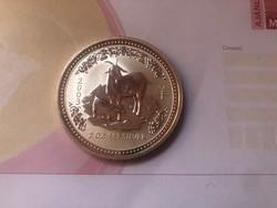 2003 Ausztrália 2 oz. kecske 62,2 gramm 0,999 gyönyörű érmeRitka