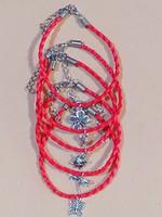 Kabbala védelmező, vörös fonott bőr karkötő, választható 4 féle sharmmal