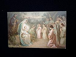 Antik képeslap Mária Jézussal és az angyalokkal