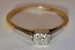 Szép antik art deco 0,15ct brill arany platina gyűrű