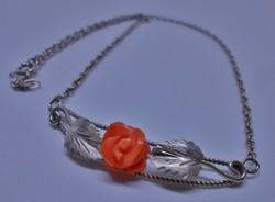 Szépséges régi korall rózsás ezüstnyakék