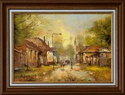 KEDVEZŐ ÁR!!! Jakubik István, Alföldi utca olaj festmény, Eredetigazolás, Visszavásárlási garancia