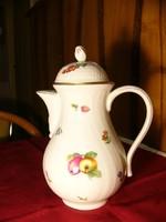 A03 Hutschenreuter teás kanna, kancsó gyönyörű virágos, gyümölcsös dekorral