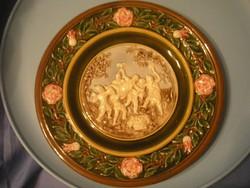 U12 Schütz Cilli majolika szecessziós  díszes faltál ritkaság áreséssel örök szépség örök érték