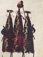 Eredeti, modern absztrakt, kortárs festmény, vászon, keret nélkül, natur-bordó