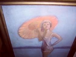 Vaszary János : strandoló hölgy festmény