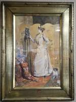 Leon Aubry - Budoár jelenetm olaj papír festmény, aranyozott keretében, galériás pecsétjével