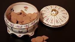 Meseszép antik porcelán kekszes doboz