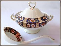 Angol Grindley & CO porcelán mártásos tál,kanállal