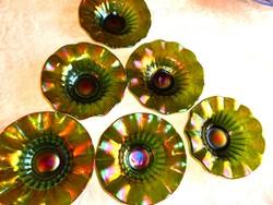 6 db lüszteres Fenton Carnivali deszertes  tál, kínáló