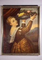 Tiziano: Lány gyümölcskosárral festmény nyomat