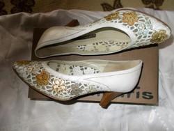 7306dec4c8bb Alkalom, party, esküvő, örömanya designer csipkézett arany ezüst bronz alkalmi  cipő 39 Mima ...