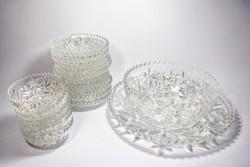 Vastag falú csiszolt üveg kompótos süteményes tálkák kínálóval, 19 db-os