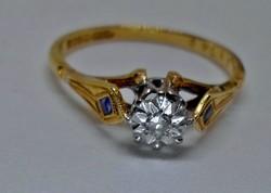 Szép antik art deco brill zafír arany gyűrű