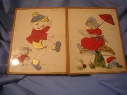N1 Akvarell művészi bájos festmény üveglapos élénk színvilág  27x21 cm 2 db