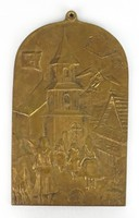 0T261 Jelzett képcsarnokos bronz HOLLÓKŐ relief