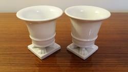 Régi fehér Herendi porcelán oroszlánlábas barokk kis váza 7.5 cm