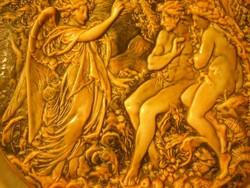 N1  Milton-pajzsból Ádám,Éva kiűzetése a paradicsomból domború faltál ritkaság nagyméretű 28 cm