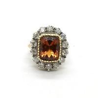 892. Vintage Gyűrű Gyémántokkal és Citrinnel