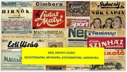 1988 december 2  /  MAGYARORSZÁG  /  SZÜLETÉSNAPRA RÉGI EREDETI ÚJSÁG Szs.:  5370