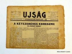 1939 december 24  /  UJSÁG  /  SZÜLETÉSNAPRA RÉGI EREDETI ÚJSÁG Szs.:  6790
