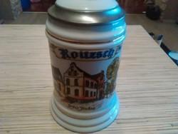 Német porcelán fedeles sörös korsó