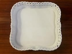 Régi fehér Herendi porcelán áttört szélű tálca 18x18 cm