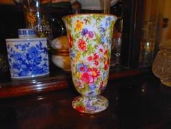 Antik virágos porcelán váza