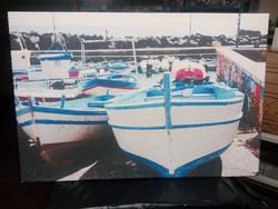 Mediterrán csónak kikötő vászonkép nyomat 60x40 cm.