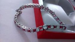 925 ezüst karkötő pink-fehér cirkon kővekkel