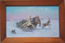 Kolozsvàry Kamillò (1936-2008) Hazafele lovas szànon c.festmènye