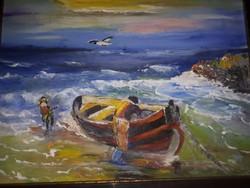 Olaj vászon festmény Halászat