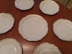 Zsolnay barokk arany stafír, sültes, vacsorázó, szendvicses készlet nagy tányérokkal 6-12 személyes