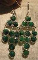 925 ezüst fülbevaló smaragdokkal, hosszú