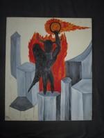 Érdekes absztrakt vászon festmény  50 x 60 cm